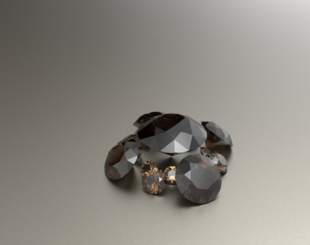 Background with brown gemstones. Fashionable and stylish accessories. 3D illustration Stock Photo