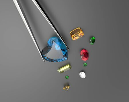 Collection of gemstones. Fashionable and stylish accessories. 3D illustration Foto de archivo