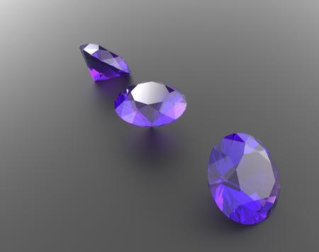 Background with purple gemstones. 3D illustration