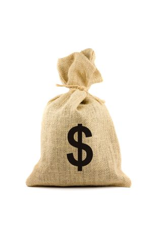 pound sign: Brown bag with dollar sign. Isolated on white