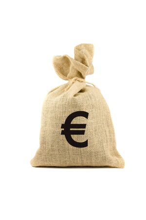 Brown bag with euro sign. Isolated on white Stock Photo