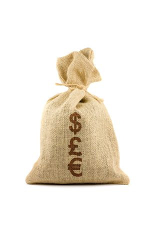 Brown textured sack with currency symbols. Isolated on white Stock Photo