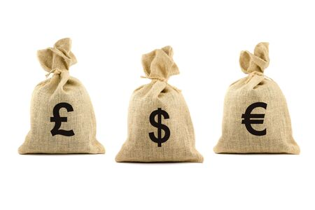Three bags with dollar, pound and euro symbols. Isolated on white