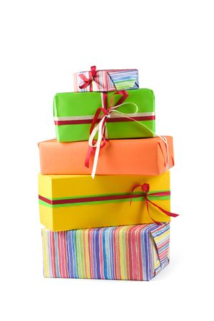 Stack of colored gift boxes. Isolated on white Stock Photo - 2988372
