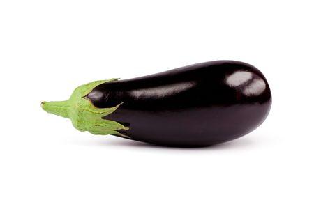 Fresh aubergine. Isolated on white
