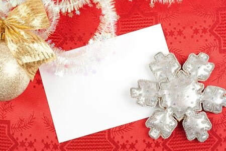 blank card and christmas decoration