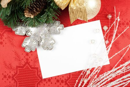 blank card and christmas decoration photo