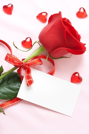 red rose and blank card Stock Photo - 4034503