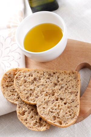 fresh bread and olive oil Stock Photo