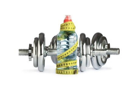 dumbbells with water and measuring tape