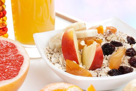 healthy breakfast with fruits and juice