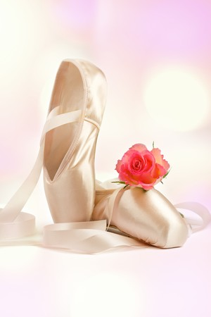 flower show: ballet shoes with red rose