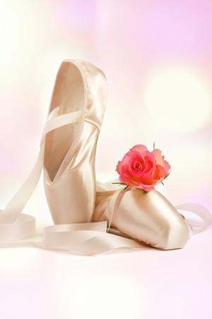 zapatillas ballet: zapatos de ballet con rosa roja