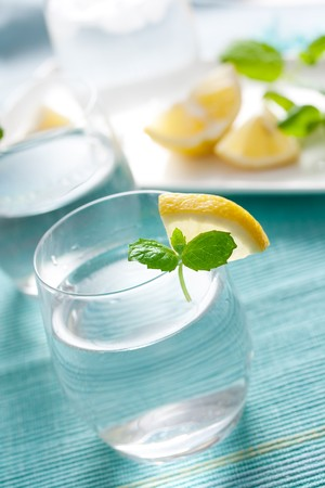 glass of water with lemon and mint. shallow dof photo