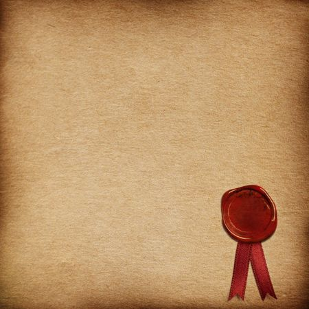 grunge paper background with sealing wax Stock Photo
