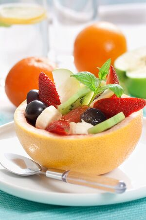 picture of tasty fruity salad. shallow dof