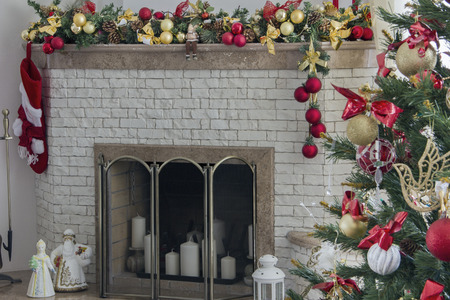 fireplace living room: Fireplace and Christmas tree in living room Stock Photo