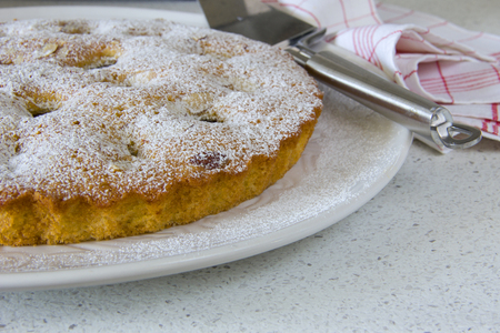 sweettooth: Plum cake on a white plate
