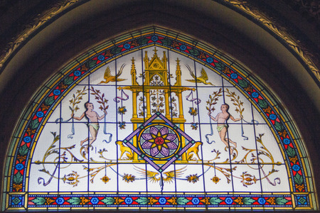 saint stephen cathedral: Stained glass window in St Stephens cathedral, Budapest, Hungary