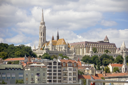 castle district: Buda Castle district and Matthias gothic style church, landmark of old city Budapest.