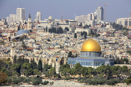 Panoramic view to Jerusalem Old City and Mount Temple, Dome of the Rock from the Mount of Olives in Jerusalem, Israel Stock Photo
