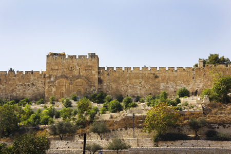 Famous Golden Gate in the Walls of the Old City of Jerusalem, Israel