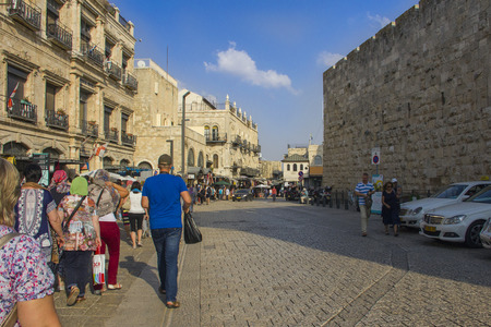 Tourists in Jerusalem on the way to the Kotel