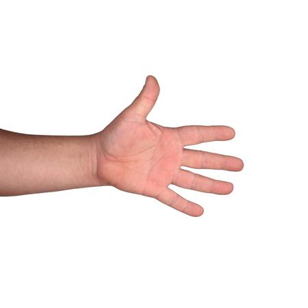 Hand auf weißem Hintergrund