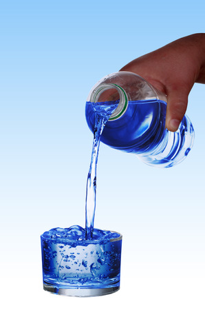 pouring water into the cup