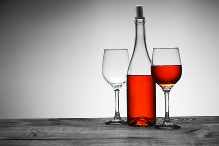 wine with two goblets on a white background