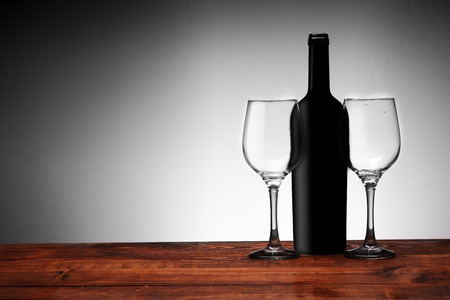 wine with glasses on a white background