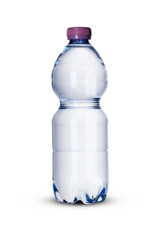 a small plastic bottle full of water on a white background