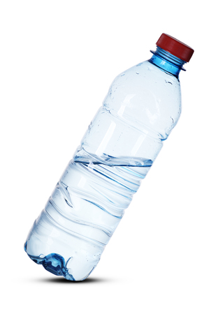 plastic small bottle inclined on a white background