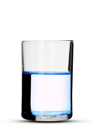 a glass of water with shadow on a white background