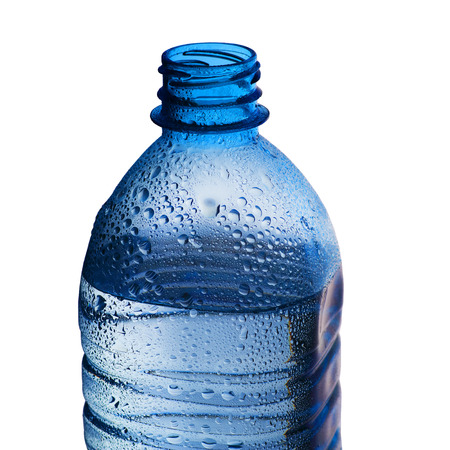 small plastic bottle with liquid on a white background Imagens