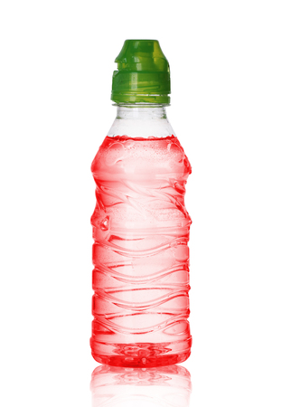 small plastic bottle with liquid on a white background 版權商用圖片