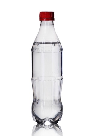 small plastic bottle on a white background