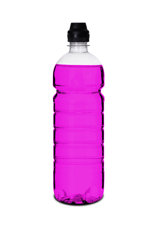 plastic bottle with liquid on a white background 版權商用圖片