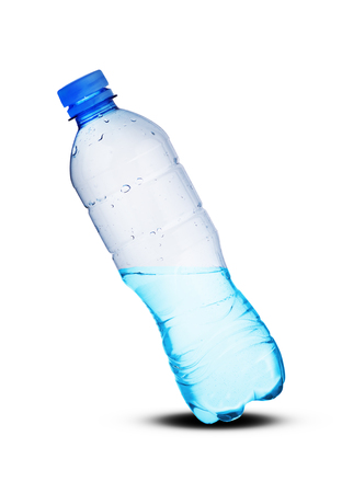 small plastic bottle with liquid on a white background Banco de Imagens
