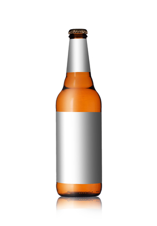 a bottle of clear beer with a label on a white background