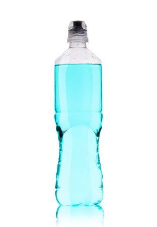 small plastic bottle with water on a white background