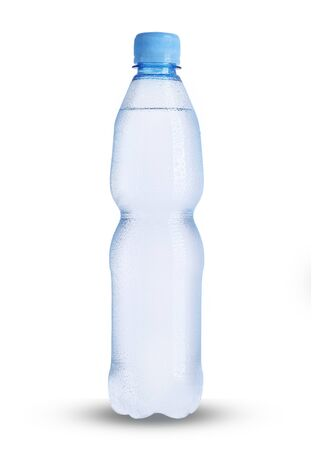 small plastic bottle full of mineral water on a white background