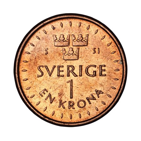 Swedish one crown 2016 coin on a white background