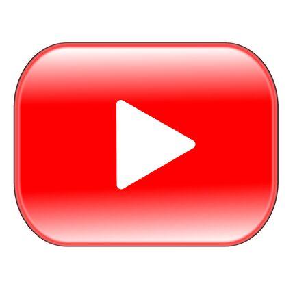 Botón de reproducción rojo aislado sobre fondo blanco. Foto de archivo