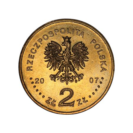 Polish commemorative coin on a white background