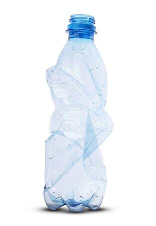 crushed plastic bottle on white background Imagens