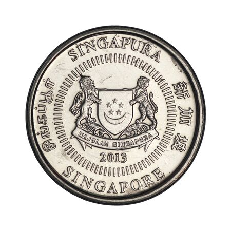 10 Singapore cent coin from 2013 isolated on white