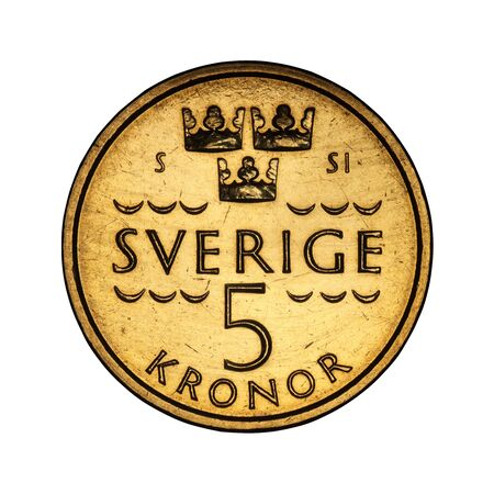Swedish five kroner coin from 2016 on white background