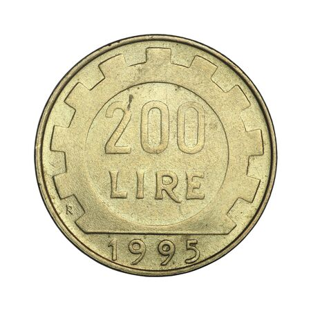Italian coin of two hundred lire from 1995 on a white background