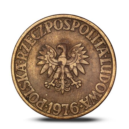 Polish five zloty coin from 1976 with an eagle on a white background